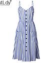 Платье сарафан  миди в полоску с пуговицами, фото 4