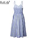 Платье сарафан  миди в полоску с пуговицами, фото 5