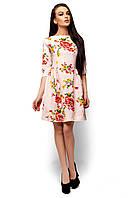 Короткое женское платье с рукавом 3/4 Karree Сивил розовое