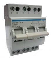 Переключатель I-0-II с общим выходом сверху 400В/40А, 3-пол., 3 м.  (Hager)