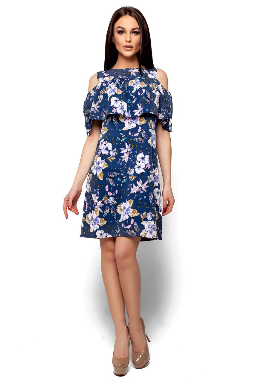 Женское платье А-силуэта с воланом на груди Karree Кения темно-синее