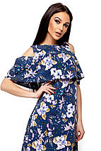 Женское платье А-силуэта с воланом на груди Karree Кения темно-синее, фото 2