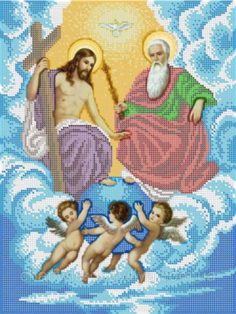 """Схема для вышивки бисером на габардине икона """"Святая Троица"""""""