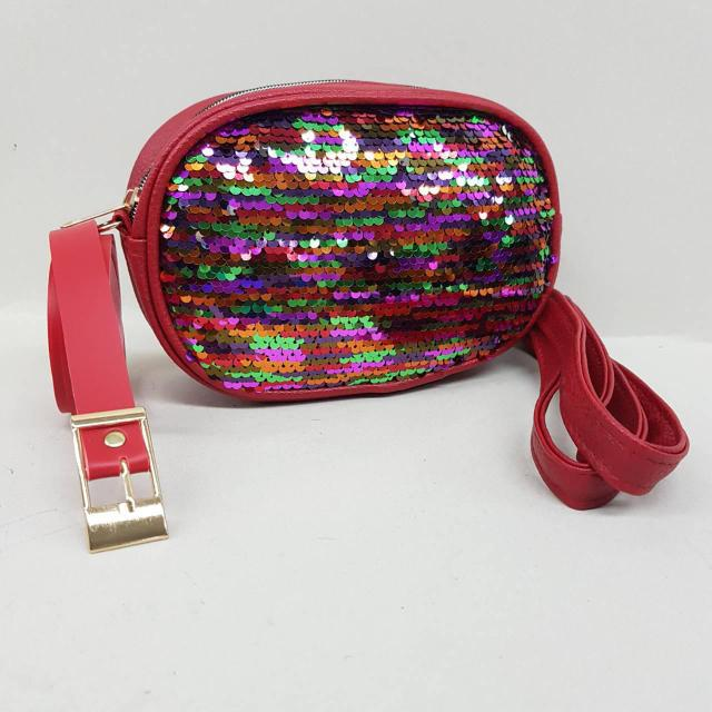a88e9ee0de3f Женская сумка бананка, красный с разноцветными пайетками, цена 250 ...