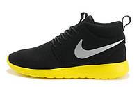 Женские кроссовки Nike Roshe Run High black-yellow, фото 1