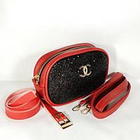 Женская сумка бананка Chanel (Шанель), красный с черными блестками