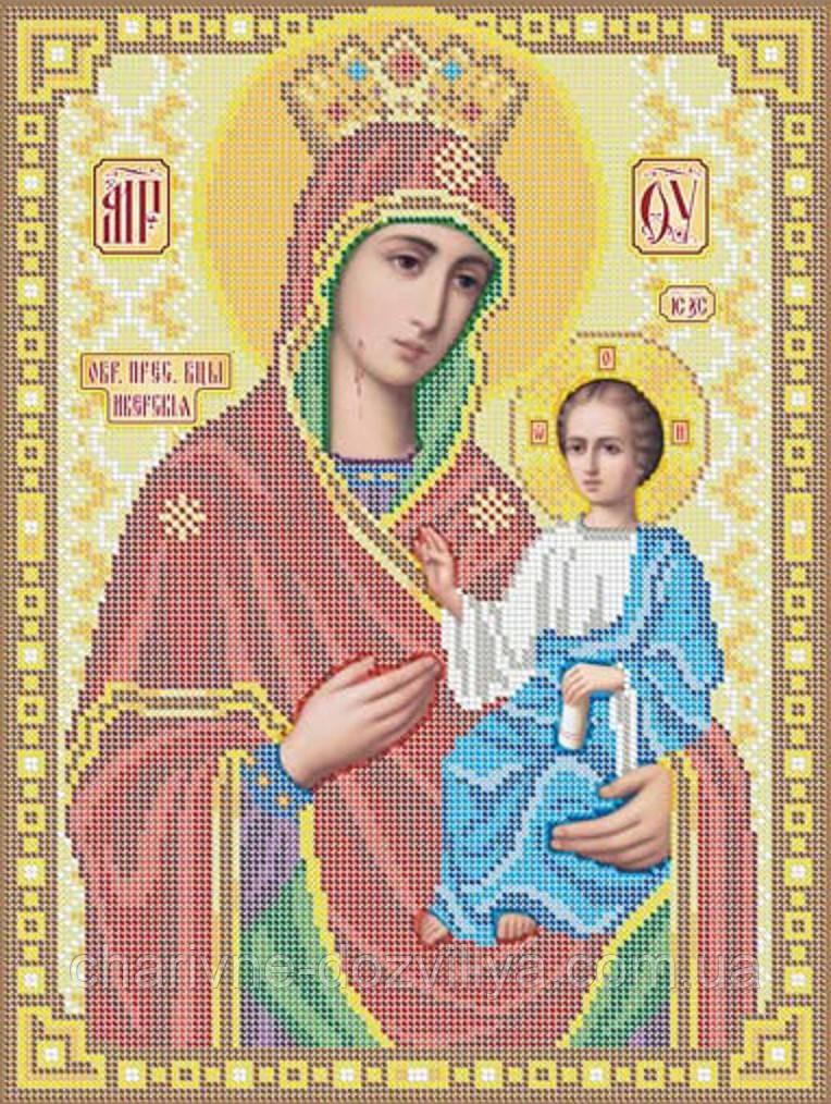 """Схема для вышивки бисером на габардине икона """"Богородица Иверская"""" размер: 42*30 см"""