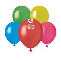 """Воздушные латексные шары АМ50  5""""(13см) Металлик Ассорти В упак:100 шт."""