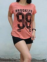 М-L Футболка принт Brooklyn 98 оранжевый меланж ЛЕТО