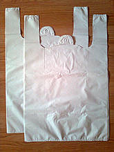 Белые пакеты-майка 38х57 см/40 мкм без печати, плотные полиэтиленовые пакеты, купить белый пакет без логотипа