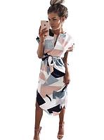 Платье летнее абстрактный принт под поясок