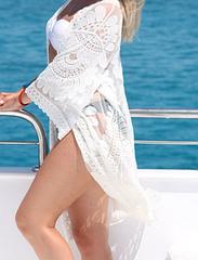 Пляжная накидка длинная белая ажурная