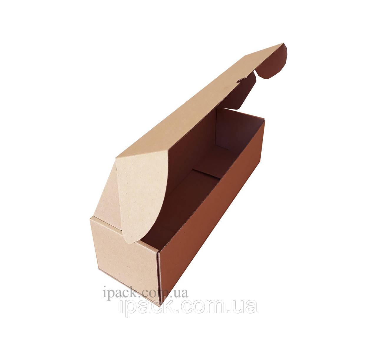 Коробка картонная самосборная, 355*105*75, мм, бурая, крафт, микрогофрокартон