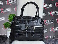 Черная кожаная женская сумка с тиснением рептилия., фото 1