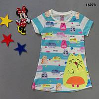 """Летнее платье-туника """"Котик"""" для девочки. Маломерит. 98, 104, 110, 128 см"""