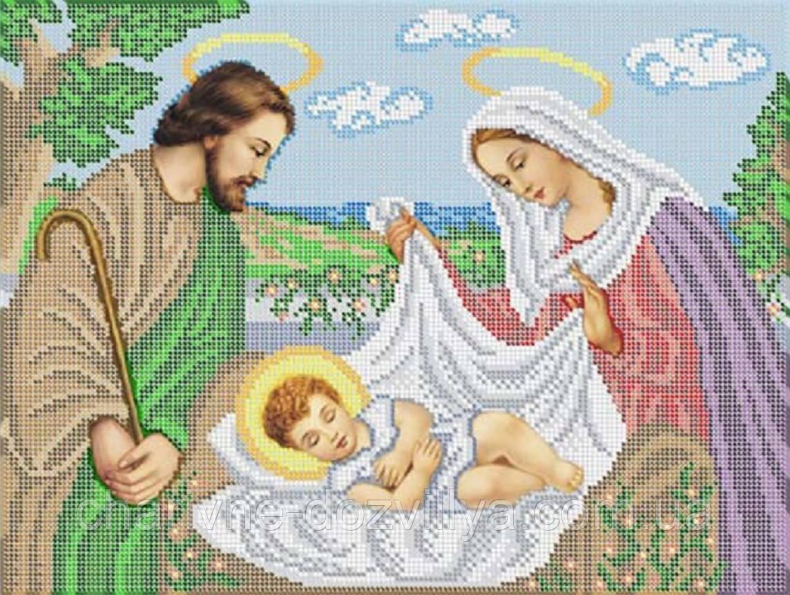 """Схема для вышивки бисером на габардине икона """"Иисус в колыбели"""""""