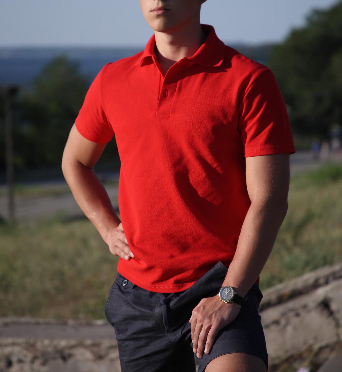 Bono Мужская футболка Поло красная 400080