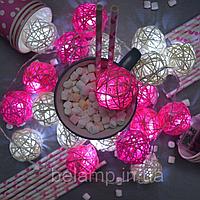 """Гирлянда на батарейках из плетеных шариков """"Нежный поцелуй"""", фото 1"""
