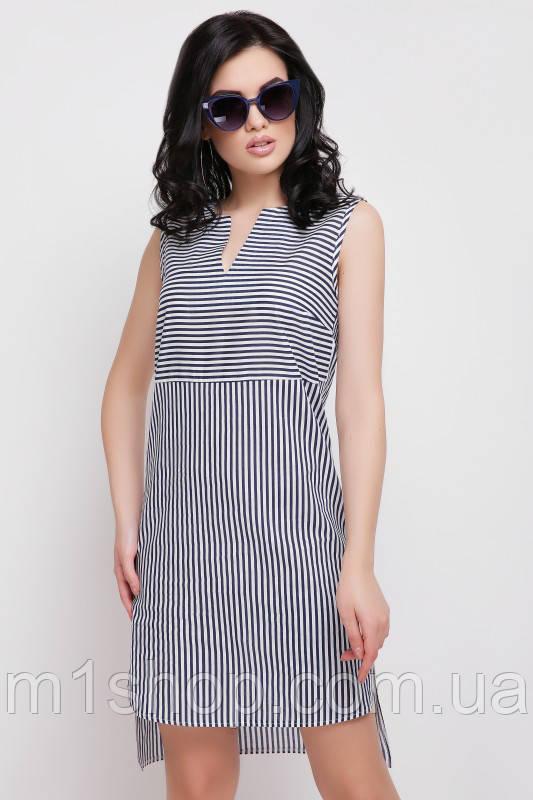 Летнее платье в полоску с удлиненной спинкой (Lily fup)