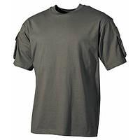 Тактическая футболка (XXL) спецназа США, с карманами на рукавах, MFH темно зеленого цвета