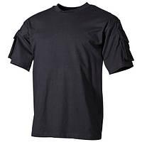Тактическая футболка (XXL) спецназа США, с карманами на рукавах, MFH черного цвета
