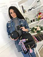 Женский рюкзак из эко-кожи с кошельком и визитницей