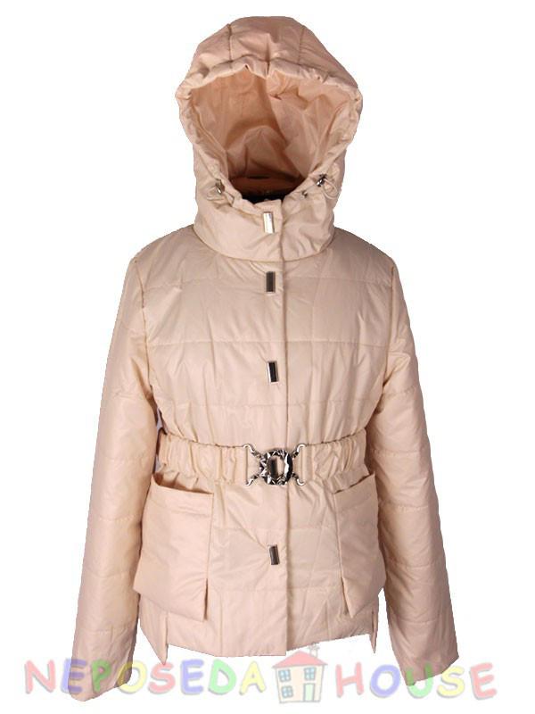 Стильная куртка-парка демисезонная  для девочки подростка 140-164 рост  Moonbox светлая пудра