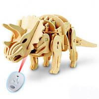 Деревянный 3D динозавр-робот RoboTime Трицераптос на радиоуправлении (D400)