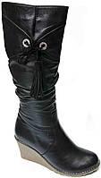 Зимние женские черные сапоги. Натуральная шерсть. Кожаные. На платформе