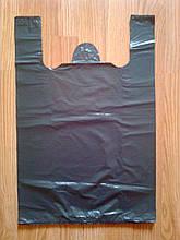 Пакет майка 31х45 см/30 мкм, черные полиэтиленовые пакеты без логотипа купить без печати Киев от производителя