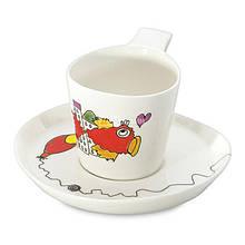 Чашка для чая Berghoff 3705007 Eclipse Ornament с блюдцем 0,24 л 2 шт