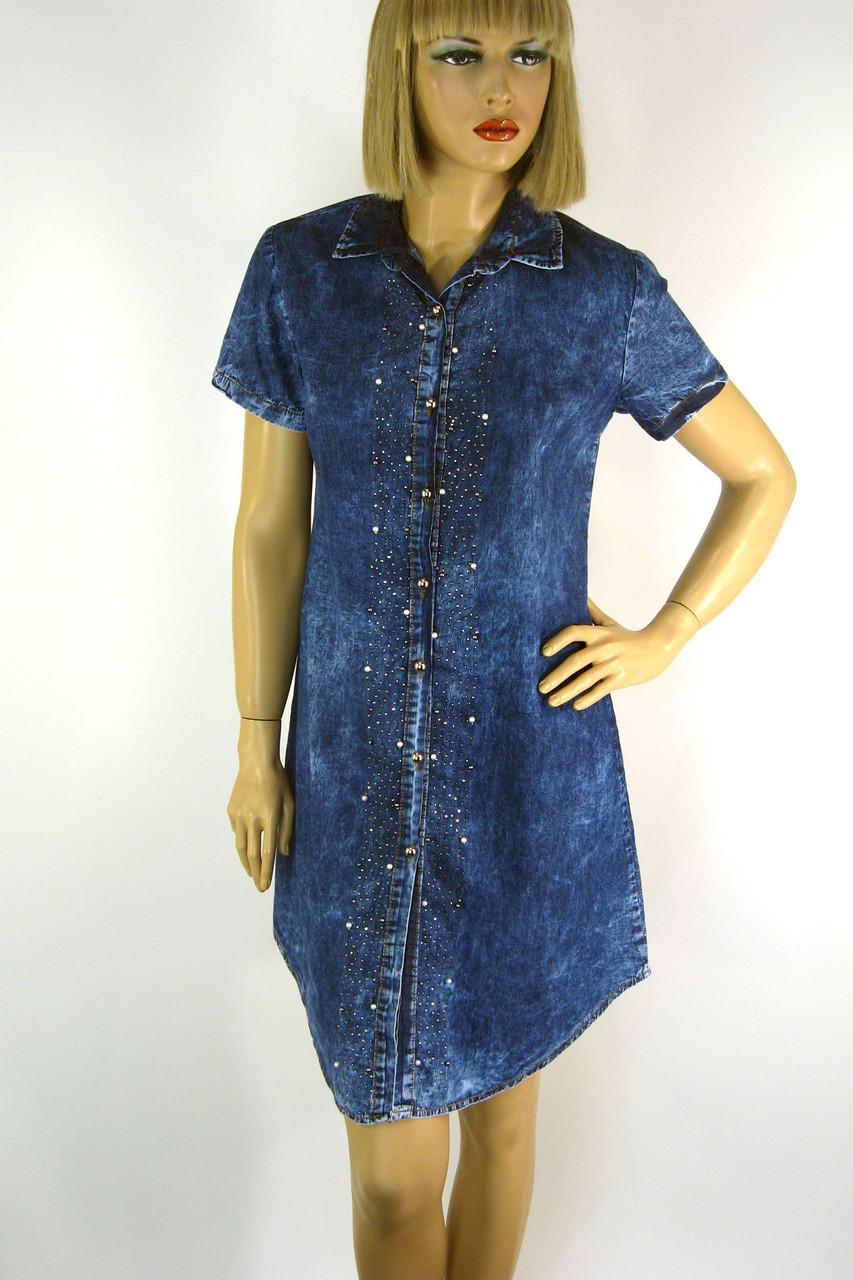 Джинсове плаття з коротким рукавом Ezra 0191