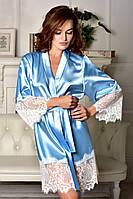 Атласный халат с красивым широким кружевом Голубой , фото 1