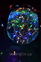 """Новогодняя гирлянда на батарейках из разноцветных капель проволочная """"Праздничная"""" (3 метра), фото 1"""