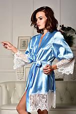 Атласный халат с красивым широким кружевом Голубой, фото 3