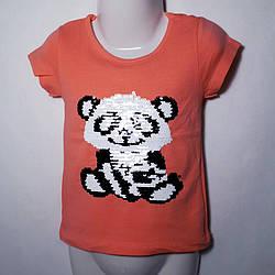 """Детская футболка 2-5 """"Панда-перевёртыш""""  32410"""