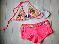 Полосатый купальник для девочки подростка с шортиками (разные цвета)