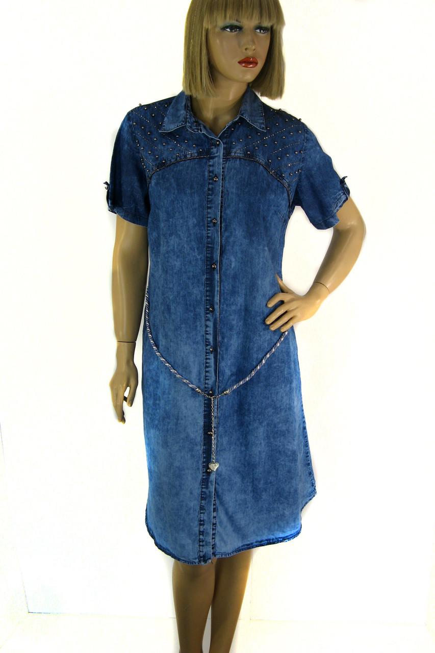 Джинсова туніка  плаття з коротким рукавом 0096