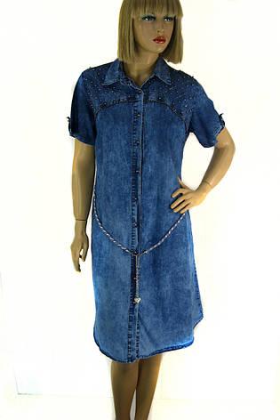 Джинсова туніка  плаття з коротким рукавом 0096, фото 2
