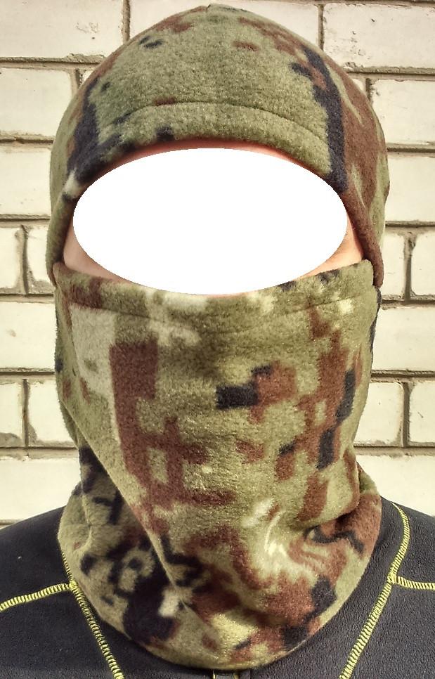"""Шапка-маска """"Балаклава"""" зимняя флис (камуфляж-пиксель)"""