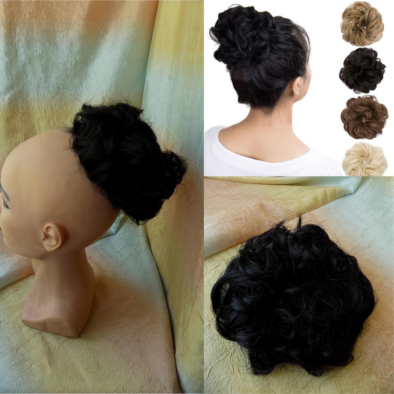 Резинка шиньон из волос черный  0215V-1