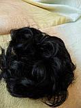 Резинка шиньон из волос черный  0215V-1, фото 9