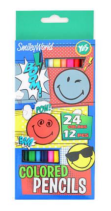 "Карандаши ""YES"" 12 штук,  24 цвета ""Smiley World"" 290478, фото 2"