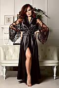 Черный атласный халат в пол с роскошным кружевным рукавом от XS до XXXL