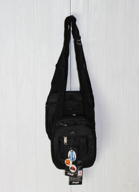 Удобная черная сумка мужская через плечо трех размеров