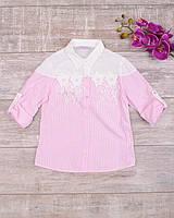Розовая рубашка с кружевом