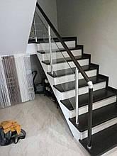 Перила алюминиевые квадратные со стеклом, фото 3