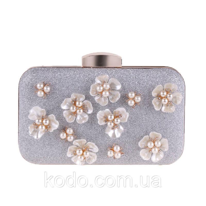 Вечерняя сумка Bluebell Flower Silver