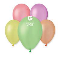 """Воздушные латексные шары GF110 12""""(30см) Неон Ассорти В упак:100 шт."""