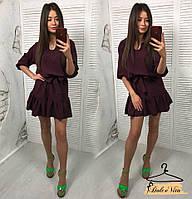 Женское легкое платье цвета бордо под съемный пояс